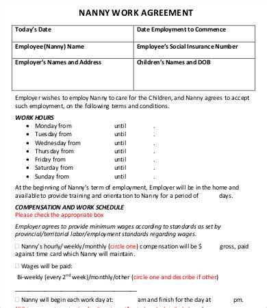 Nanny Contract Template Word by 10 Sle Nanny Contract Templates Free Sle Exle