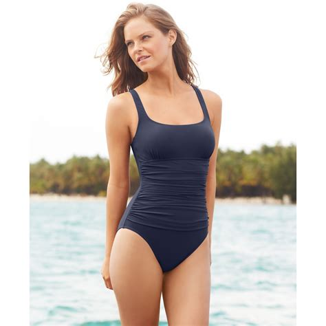 gottex ruched  piece swimsuit  blue lyst