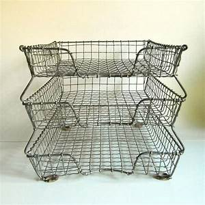 Vintage acme wire letter tray three tier for Wire letter tray vintage
