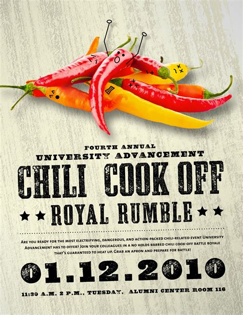 Chili cook off poster Flyer layout and Pepper