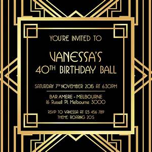 great gatsby digital printable invitation template black With the great gatsby invitation template
