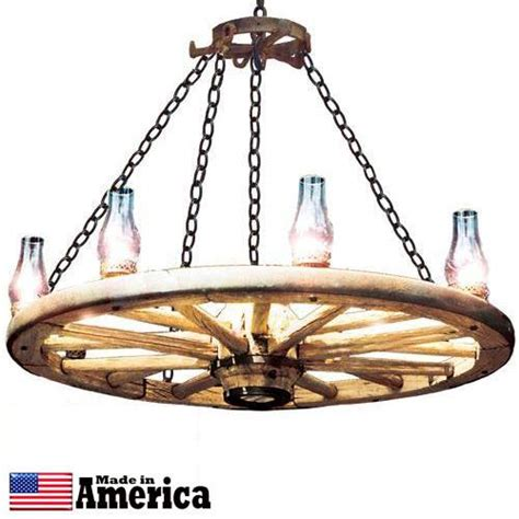 wagon wheel chandelier 48 inches hurricane globe