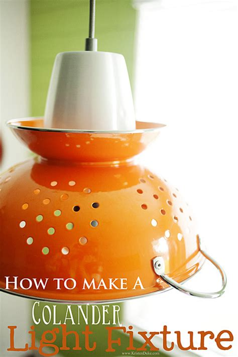 how to make a colander light fixture diy
