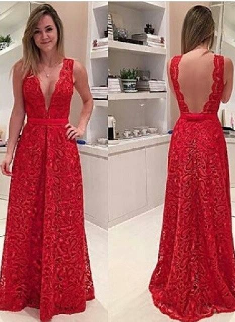 sexy deep  neck red backless prom dress floor length