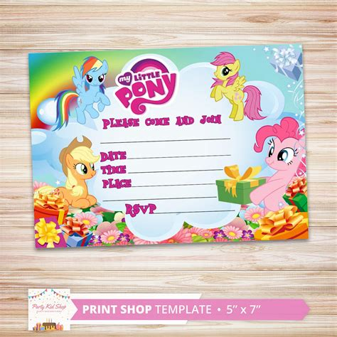 pony invites diy editable  partykidshop