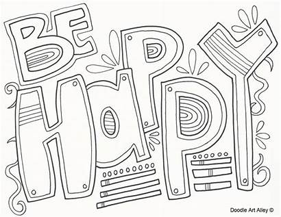 Coloring Pages Sheets Positive Happiness Colouring Words