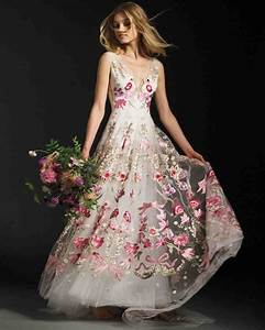 colorful inspired wedding dress 2017 weddceremonycom With floral wedding dresses with color