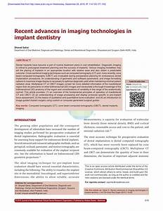 PDF Recent Advances In Imaging Technologies