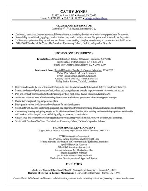 Ese Resume Objective by Special Education Resume Exles