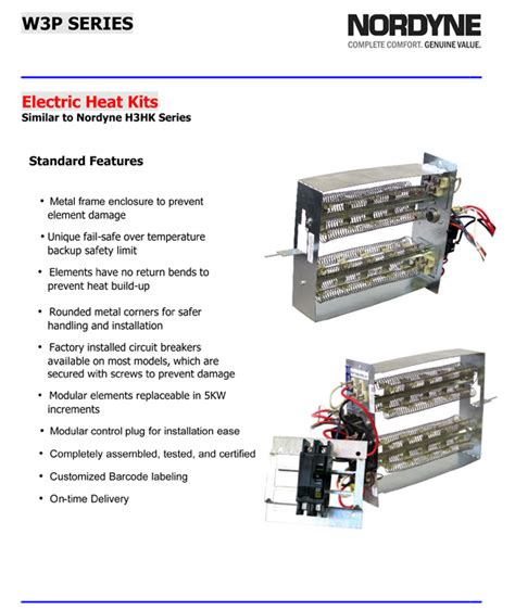 Breakered Heat Strip For Nordyne Package Units
