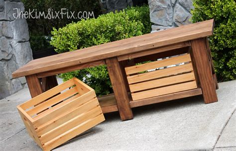 rustic  leg wooden bench  built  crate storage