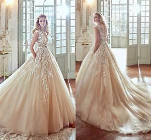 2017 blush vestios de novia 3d floral a line wedding With blush wedding dresses 2017