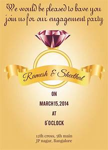 Diamond Ring Theme Engagement Invitation Card With