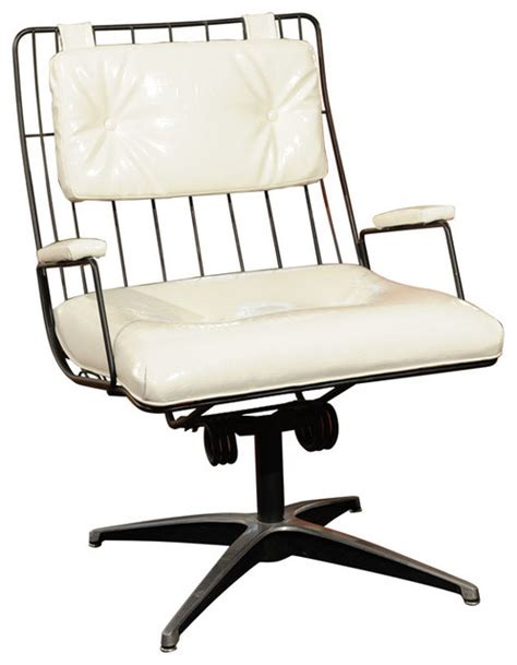 vintage metal frame swivel chair eclectic office