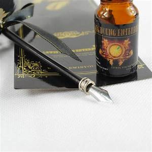 Black Antique Big Size Dip Pen Goose Quill Feather and Ink ...