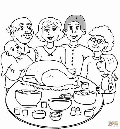 Coloring Dinner Thanksgiving Pages Printable Colouring Main