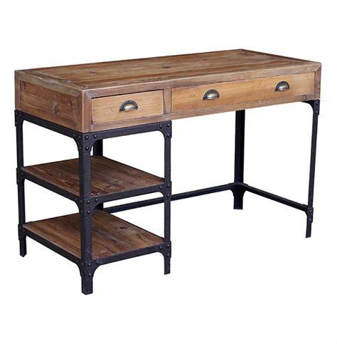rustic wood office desk luca reclaimed wood rustic iron industrial loft desk