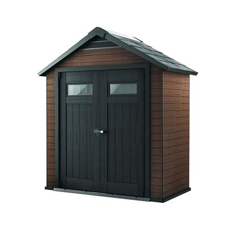 keter storage shed hinges keter fusion 7 5 ft x 4 ft wood and plastic composite