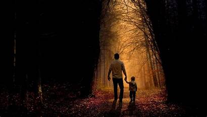Father Son Child Forest Widescreen