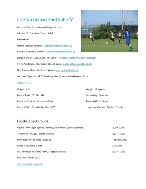 Football Player Cv Resume by Nicholson Football Cv
