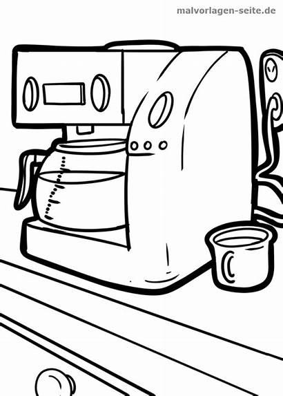 Kaffeemaschine Malvorlage Coffee Kaca Kopi Warni Maker