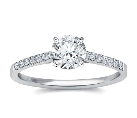 petite cathedral pave diamond engagement ring   white