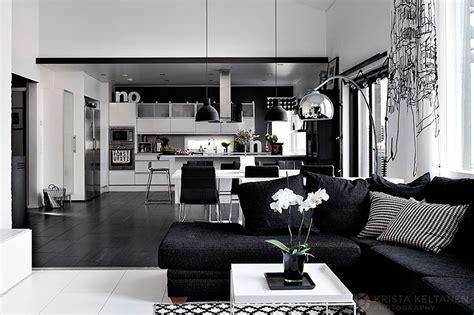 Elegant black and white interior design with comfortable