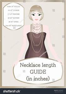 Necklace Chain Size Chart Necklace Length Stock Vector