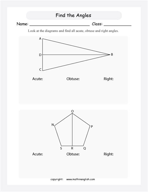 types  angles geometry printable grade  math worksheet