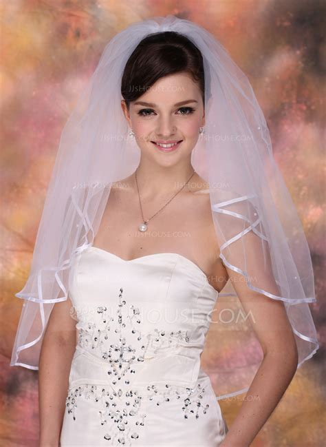 Two Tier Elbow Bridal Veils With Ribbon Edge 006005419