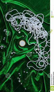 Pearls On Fabric Background Stock Image - Image of fashion ...