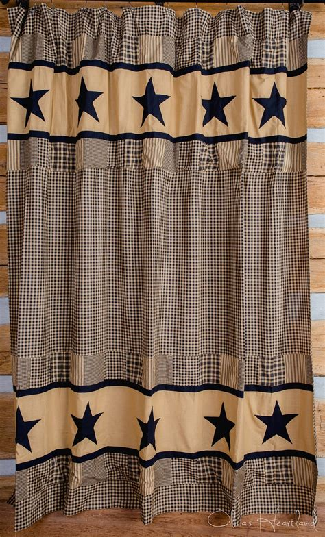 jamestown black  tan shower curtain country primitive olivias heartland dl country barn