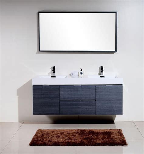 wall mounted bathroom sinks bliss 60 quot gray oak wall mount sink modern bathroom