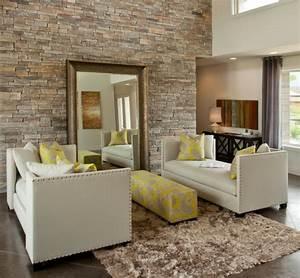 Spiegel Im Wohnzimmer : steinwand wohnzimmer 43 beispiele wie steine auf das ~ Michelbontemps.com Haus und Dekorationen