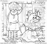Coloring Fox Walking Outline Away Female Illustration Clipart Royalty Rf Bannykh Alex Copyright Template sketch template