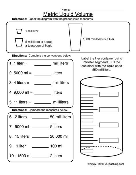 kindergarten capacity worksheets measuring capacity year