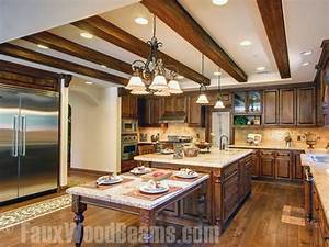 Faux Sandblasted Beam Kitchen Ceiling - Traditional