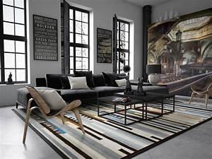 amenagement salon pour une atmosphere accueillante With tapis ethnique avec canapé style loft