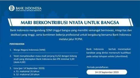 lowongan kerja  bank indonesia tutup  september