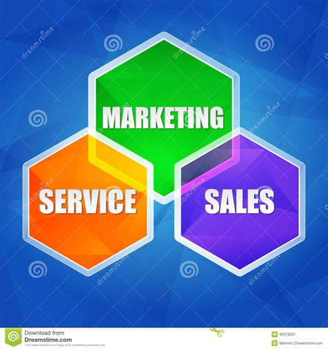 Marketing Sales by Service Marketing Sales In Hexagons Flat Design Stock