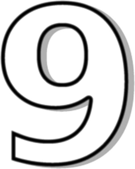 black and white number 9 white signs symbol alphabets numbers outlined
