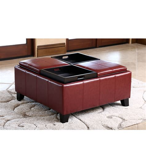 convertible ottoman coffee table ottomans benches vincent convertible ottoman red
