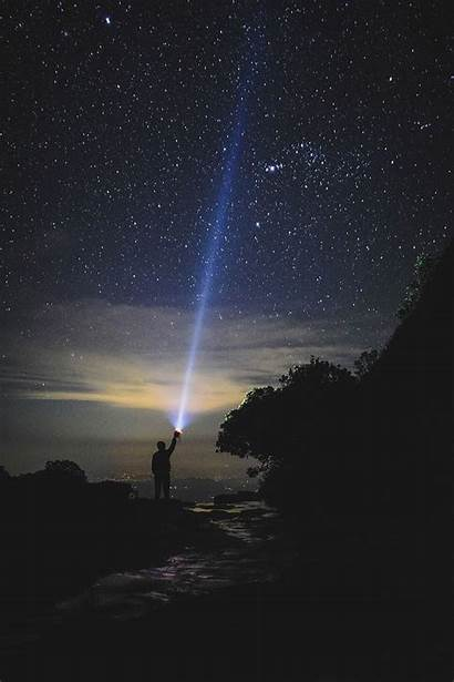 Person Holding Sky Pointing Impact Torch Horizon
