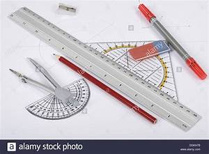 Circle Ruler Triangle Drawing Tools Stock Photo  61896220