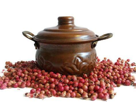 vintage  mini copper stock pot  lid brass handles hammered floral pattern metal planter