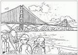 Bridge Coloring Gate Golden Pages Colorkid Colouring sketch template