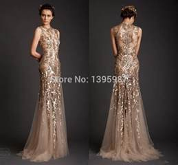 designer abendkleider second wholesale gold appliqued tulle mermaid sleeveless evening dresses floor length o neck prom