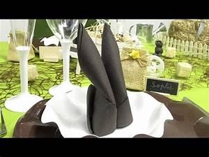Pliage Serviette Lapin Simple : pliage de serviette en forme de lapin youtube ~ Melissatoandfro.com Idées de Décoration