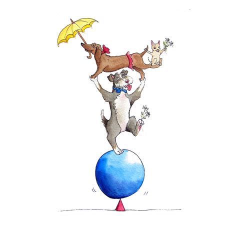 Circus Dogs Whimsical Art Paintings By Mic E Imbach
