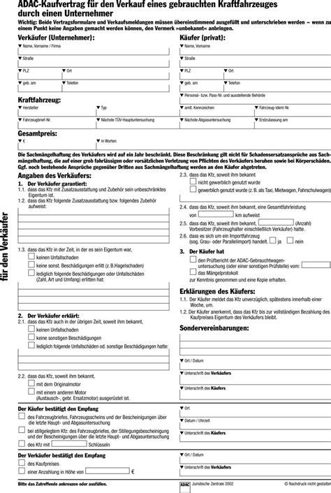 kfz kaufvertrag bmw adac verkauf unternehmer